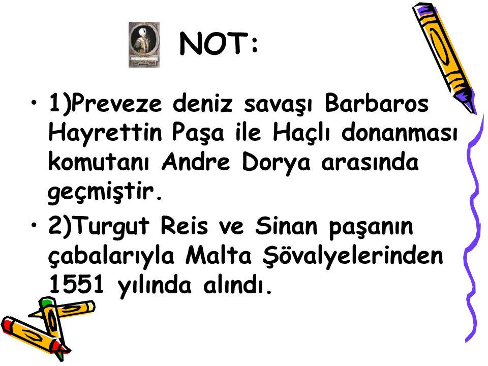 NOT: 1)Preveze deniz savaşı Barbaros Hayrettin Paşa ile Haçlı donanması komutanı Andre Dorya arasında geçmiştir.
