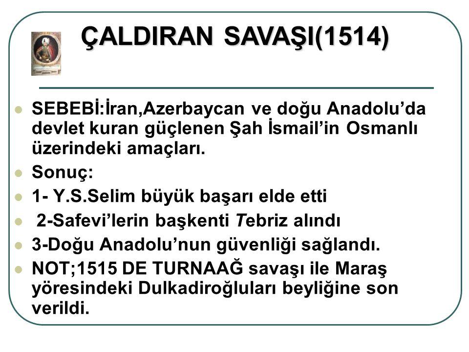 ÇALDIRAN SAVAŞI(1514) SEBEBİ:İran,Azerbaycan ve doğu Anadolu'da devlet kuran güçlenen Şah İsmail'in Osmanlı üzerindeki amaçları.