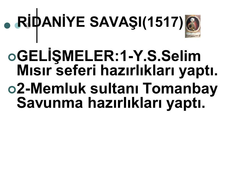 GELİŞMELER:1-Y.S.Selim Mısır seferi hazırlıkları yaptı.