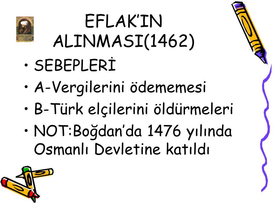 EFLAK'IN ALINMASI(1462) SEBEPLERİ A-Vergilerini ödememesi