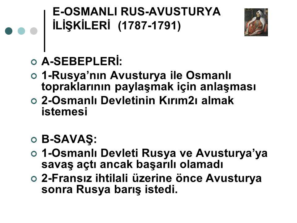 E-OSMANLI RUS-AVUSTURYA İLİŞKİLERİ (1787-1791)