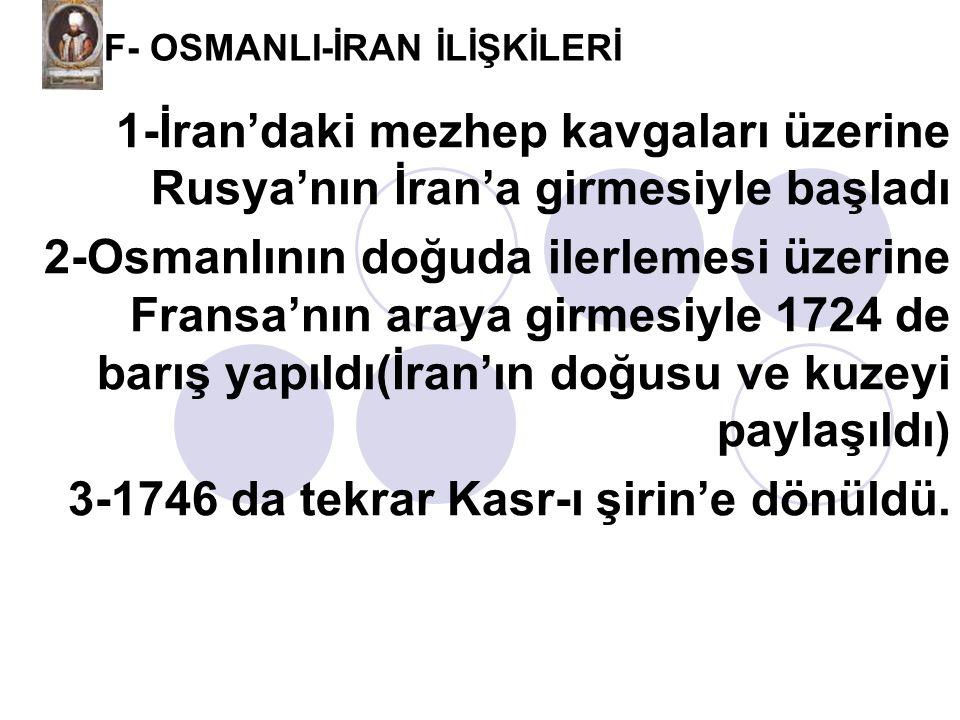 F- OSMANLI-İRAN İLİŞKİLERİ