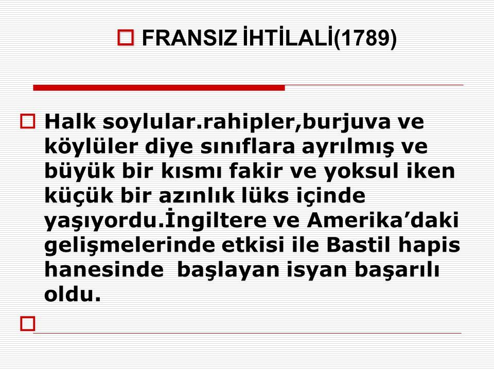 FRANSIZ İHTİLALİ(1789)