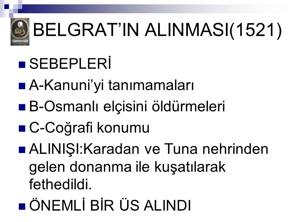 BELGRAT'IN ALINMASI(1521)