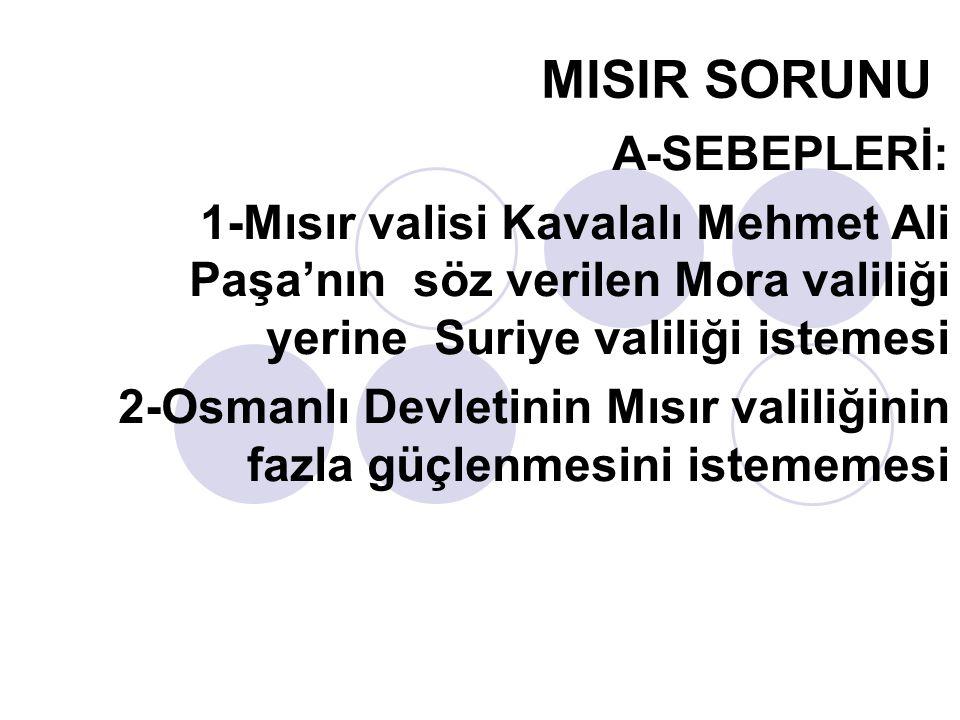 MISIR SORUNU A-SEBEPLERİ: