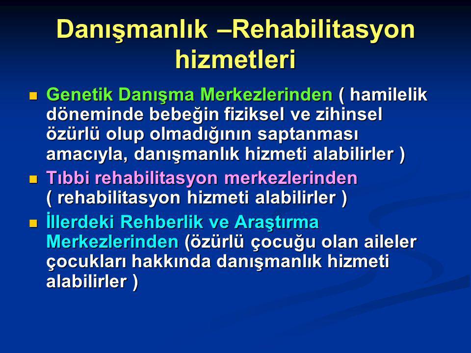 Danışmanlık –Rehabilitasyon hizmetleri