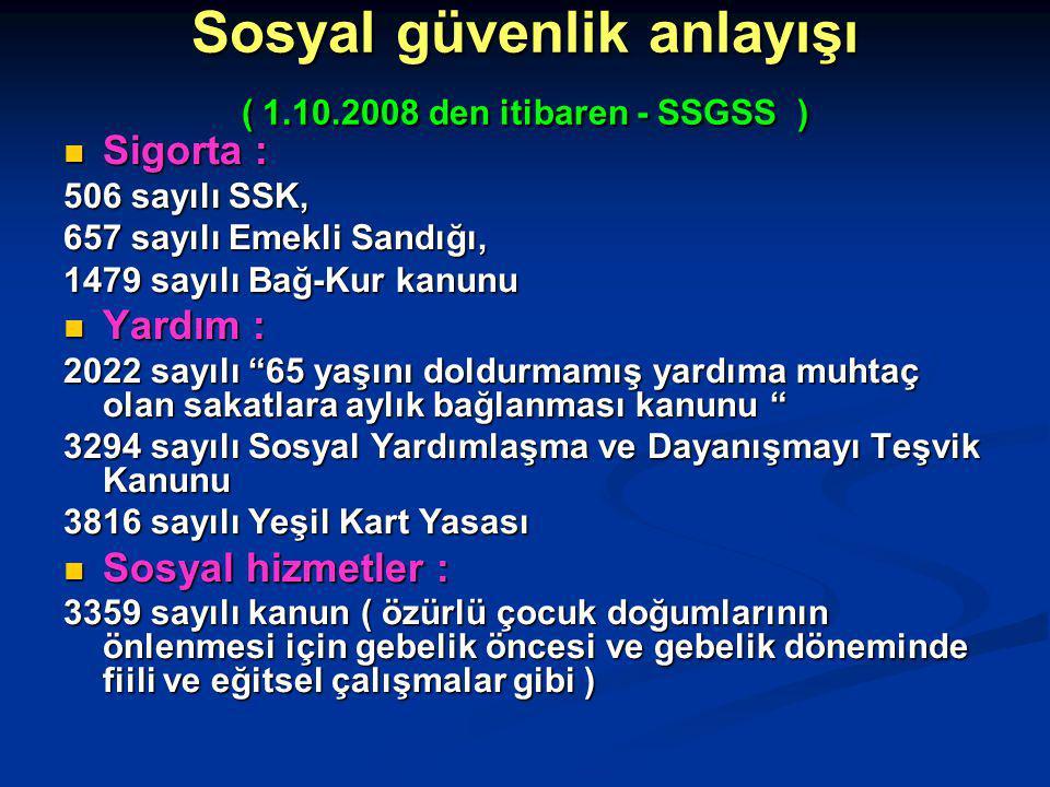Sosyal güvenlik anlayışı ( 1.10.2008 den itibaren - SSGSS )