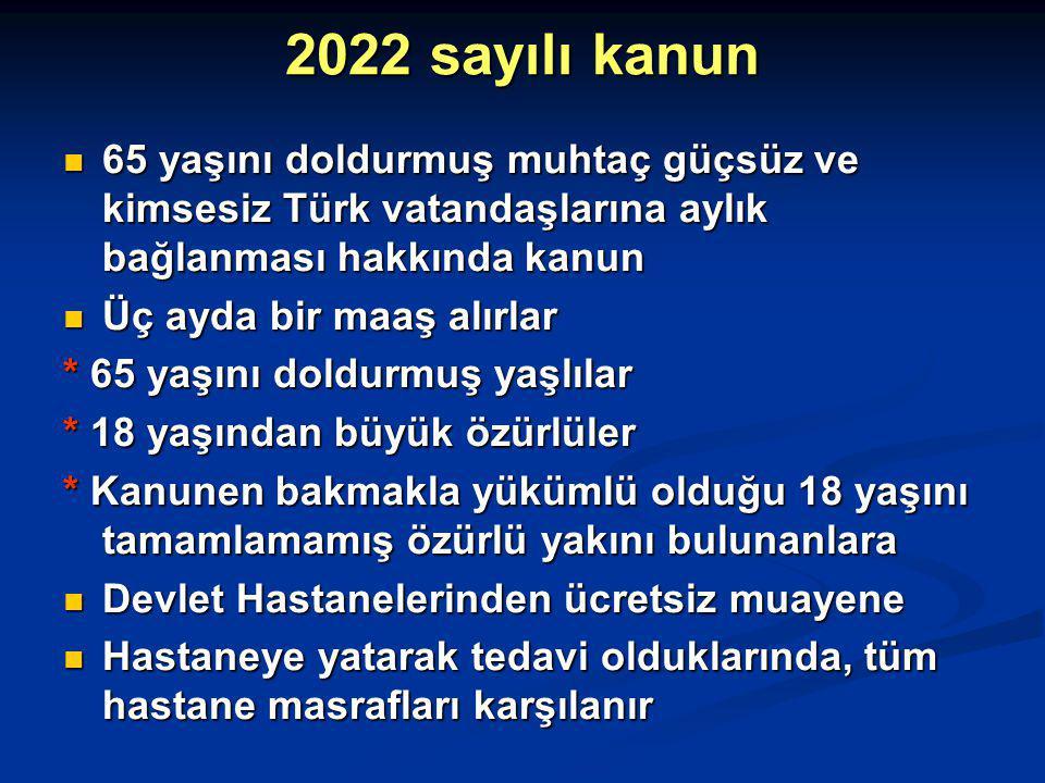 2022 sayılı kanun 65 yaşını doldurmuş muhtaç güçsüz ve kimsesiz Türk vatandaşlarına aylık bağlanması hakkında kanun.