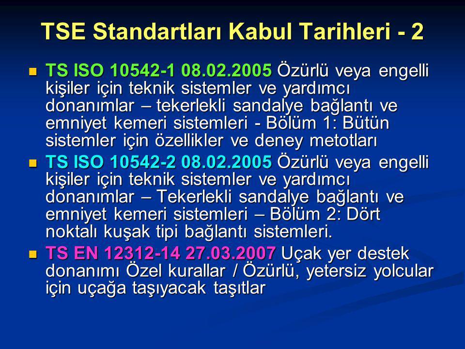 TSE Standartları Kabul Tarihleri - 2