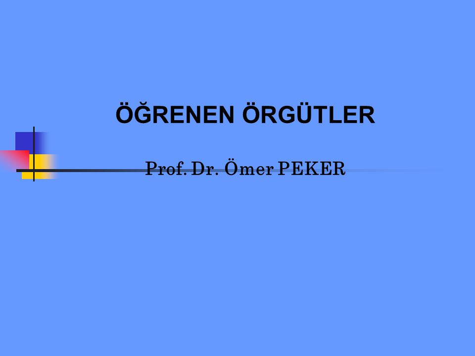 ÖĞRENEN ÖRGÜTLER Prof. Dr. Ömer PEKER