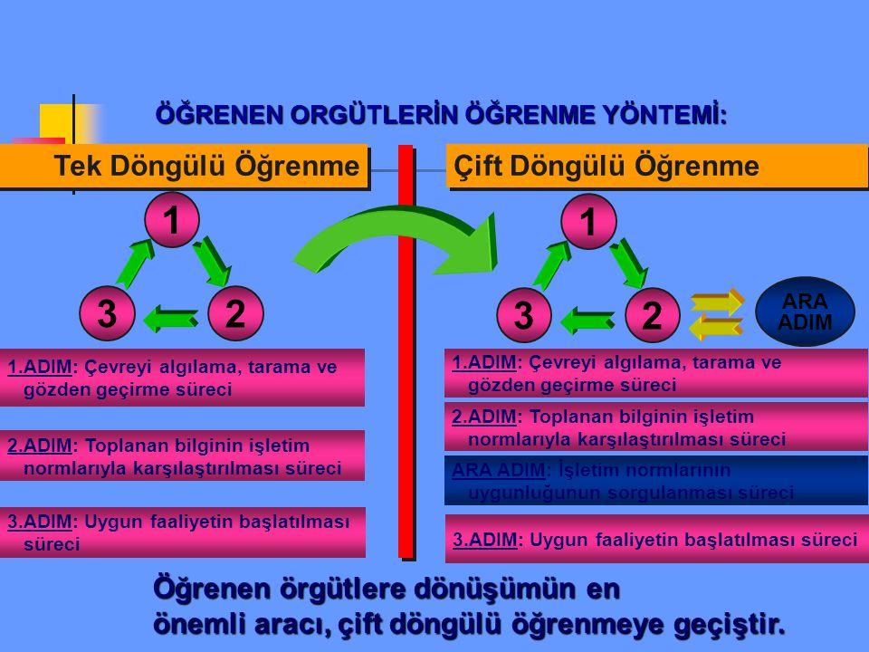 1 3 2 1 3 2 Tek Döngülü Öğrenme Çift Döngülü Öğrenme