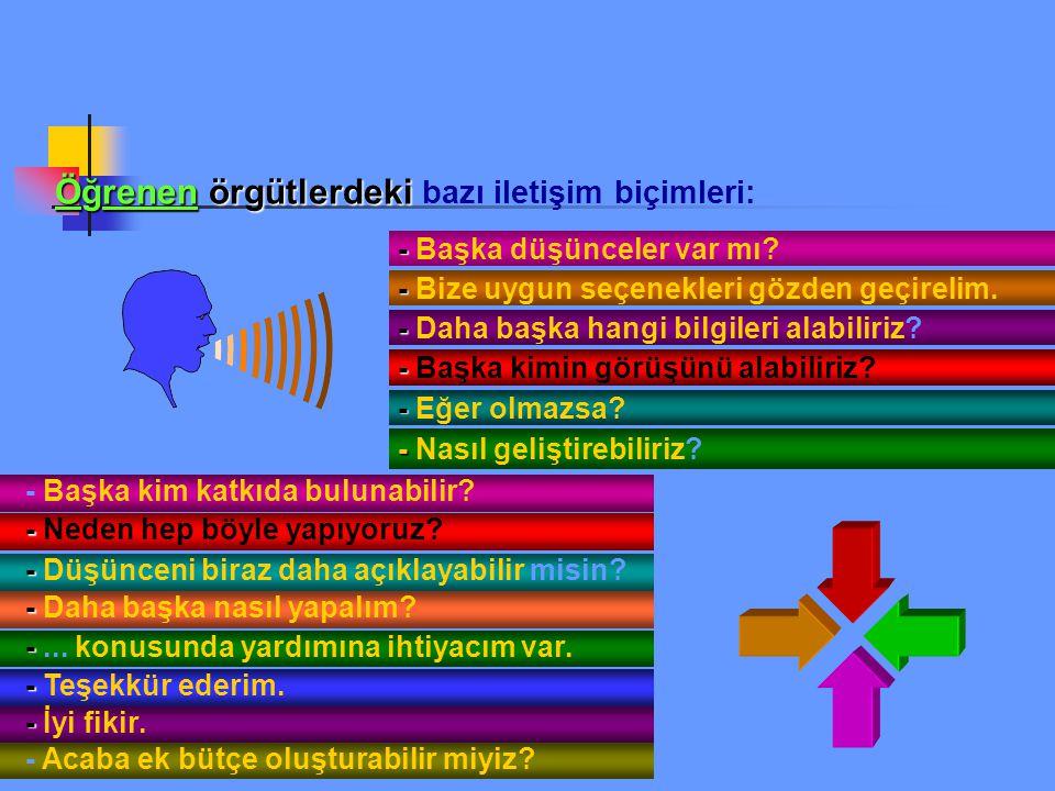 Öğrenen örgütlerdeki bazı iletişim biçimleri: