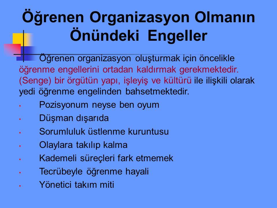 Öğrenen Organizasyon Olmanın Önündeki Engeller