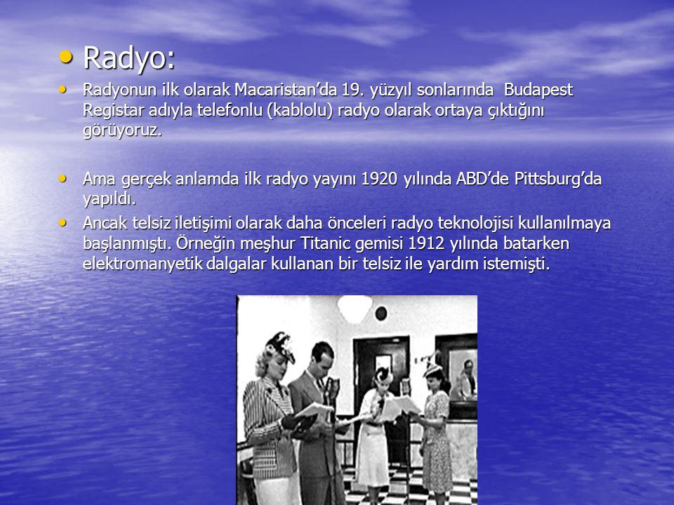 Radyo: Radyonun ilk olarak Macaristan'da 19. yüzyıl sonlarında Budapest Registar adıyla telefonlu (kablolu) radyo olarak ortaya çıktığını görüyoruz.