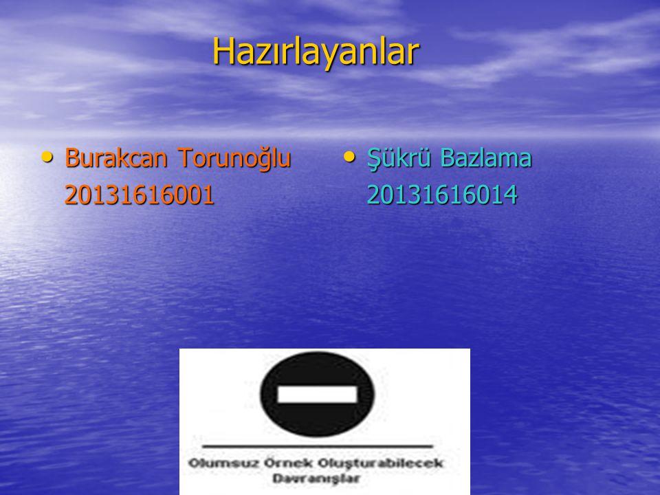 Hazırlayanlar Burakcan Torunoğlu 20131616001 Şükrü Bazlama 20131616014