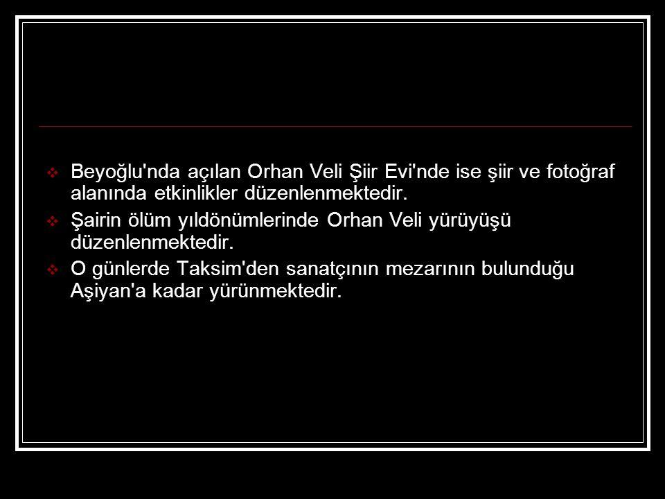 Beyoğlu nda açılan Orhan Veli Şiir Evi nde ise şiir ve fotoğraf alanında etkinlikler düzenlenmektedir.