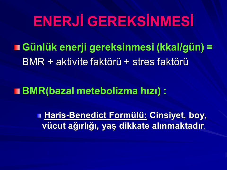 ENERJİ GEREKSİNMESİ Günlük enerji gereksinmesi (kkal/gün) =