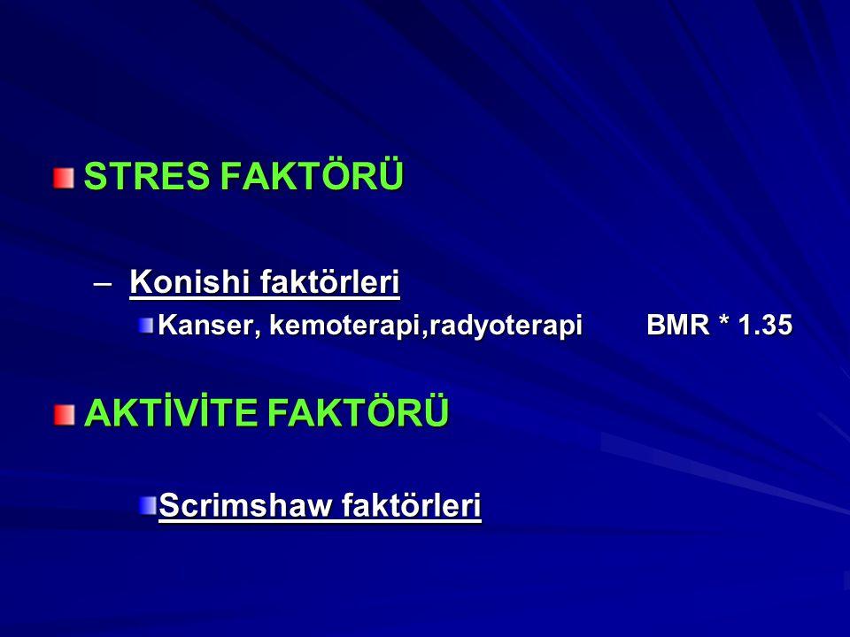 STRES FAKTÖRÜ AKTİVİTE FAKTÖRÜ Konishi faktörleri Scrimshaw faktörleri
