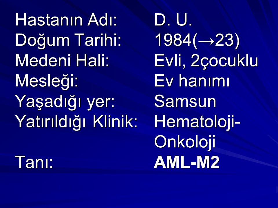 Hastanın Adı:. D. U. Doğum Tarihi:. 1984(→23) Medeni Hali: