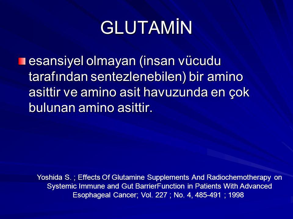 GLUTAMİN esansiyel olmayan (insan vücudu tarafından sentezlenebilen) bir amino asittir ve amino asit havuzunda en çok bulunan amino asittir.