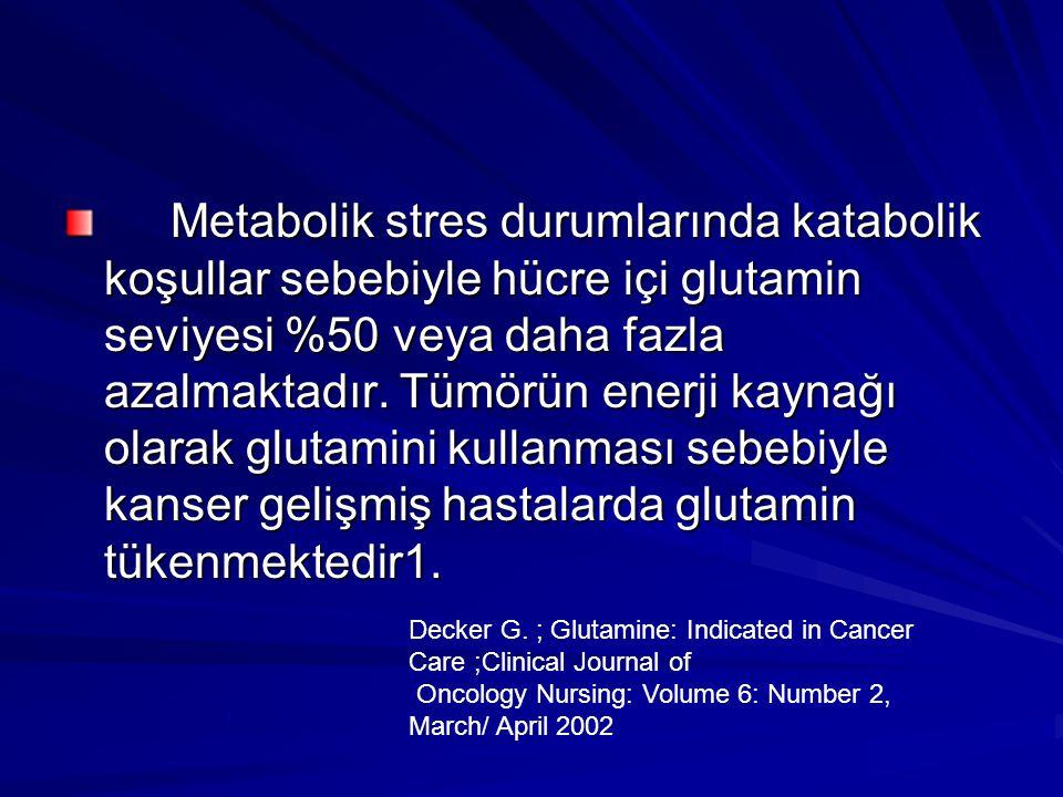 Metabolik stres durumlarında katabolik koşullar sebebiyle hücre içi glutamin seviyesi %50 veya daha fazla azalmaktadır. Tümörün enerji kaynağı olarak glutamini kullanması sebebiyle kanser gelişmiş hastalarda glutamin tükenmektedir1.