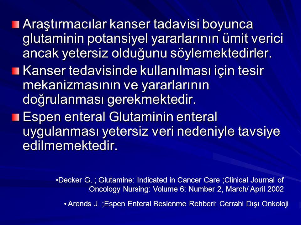 Araştırmacılar kanser tadavisi boyunca glutaminin potansiyel yararlarının ümit verici ancak yetersiz olduğunu söylemektedirler.