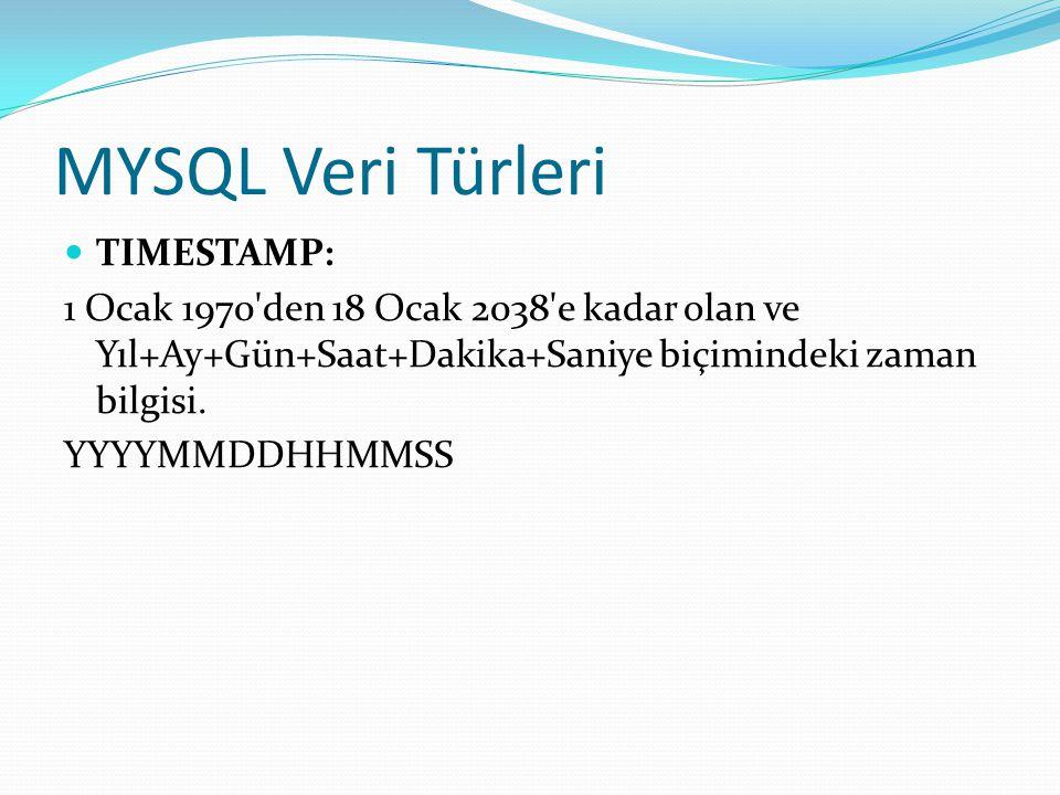 MYSQL Veri Türleri TIMESTAMP: