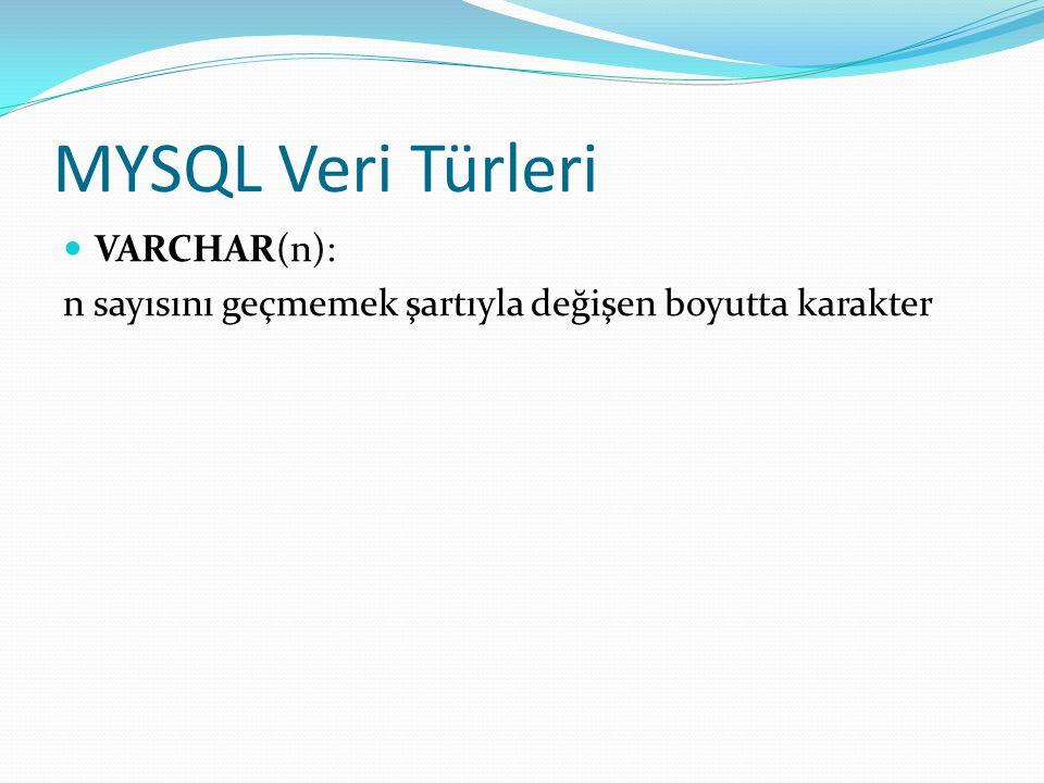 MYSQL Veri Türleri VARCHAR(n):