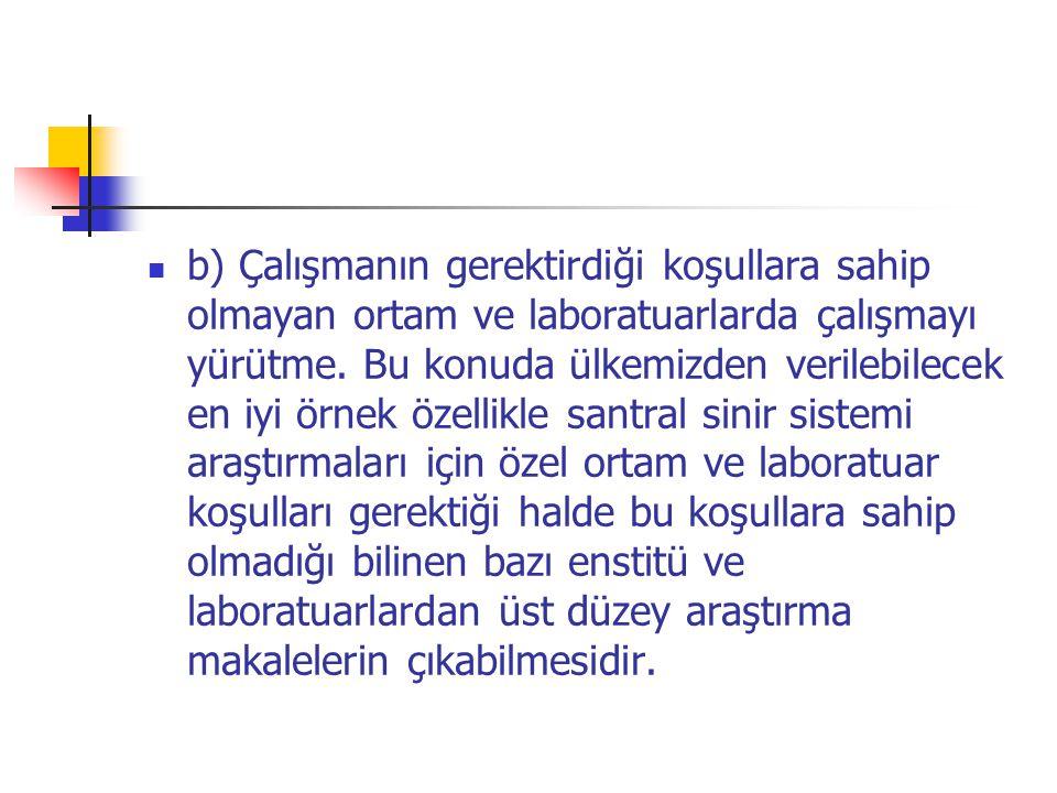 b) Çalışmanın gerektirdiği koşullara sahip olmayan ortam ve laboratuarlarda çalışmayı yürütme.