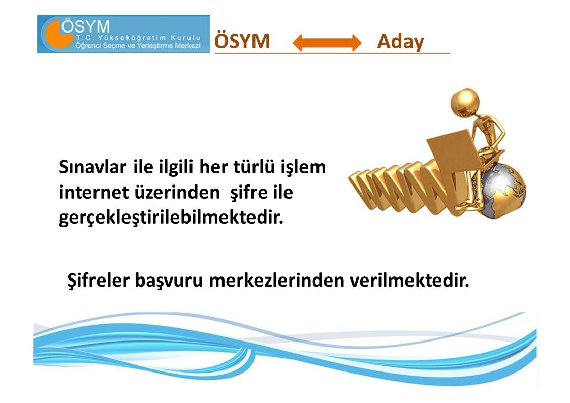 ÖSYM Aday. Sınavlar ile ilgili her türlü işlem internet üzerinden şifre ile gerçekleştirilebilmektedir.