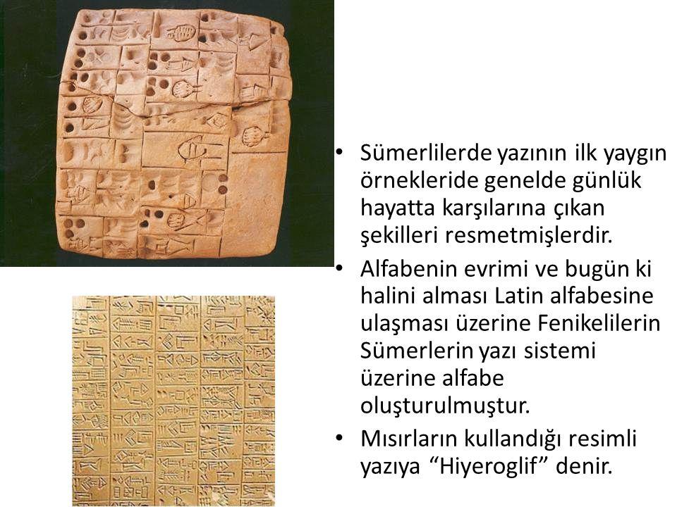 Sümerlilerde yazının ilk yaygın örnekleride genelde günlük hayatta karşılarına çıkan şekilleri resmetmişlerdir.