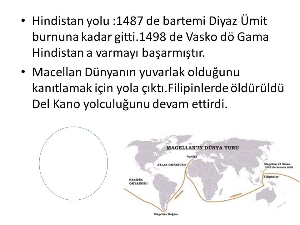 Hindistan yolu :1487 de bartemi Diyaz Ümit burnuna kadar gitti