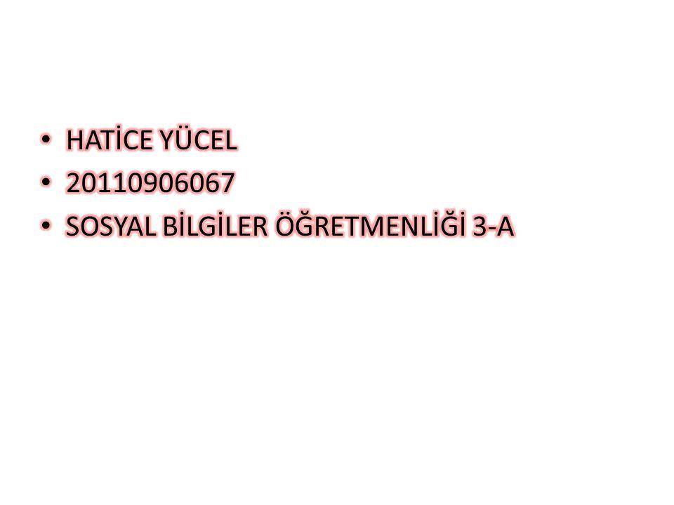 HATİCE YÜCEL 20110906067 SOSYAL BİLGİLER ÖĞRETMENLİĞİ 3-A
