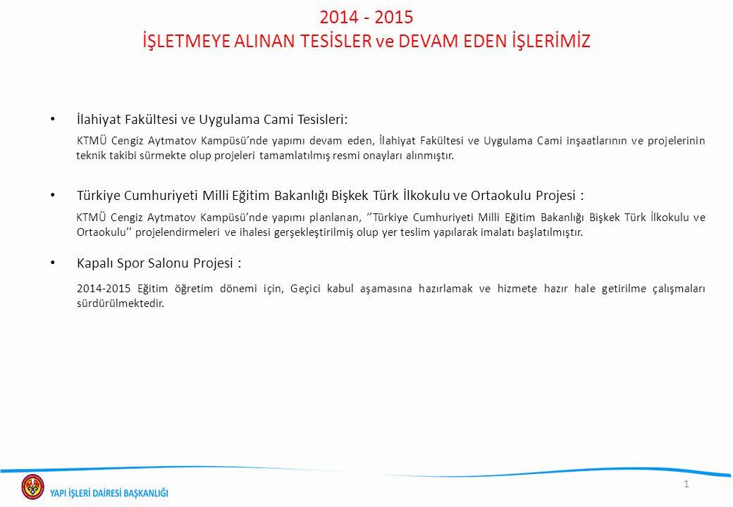 2014 - 2015 İŞLETMEYE ALINAN TESİSLER ve DEVAM EDEN İŞLERİMİZ