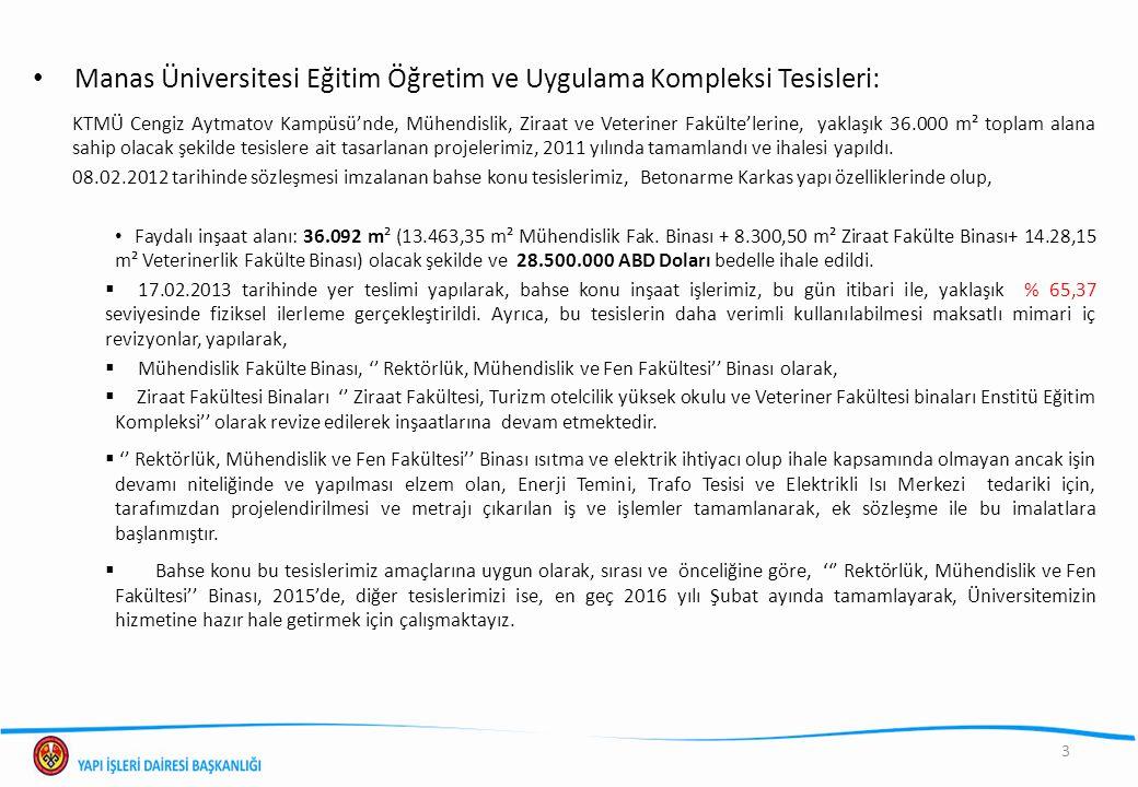 Manas Üniversitesi Eğitim Öğretim ve Uygulama Kompleksi Tesisleri: