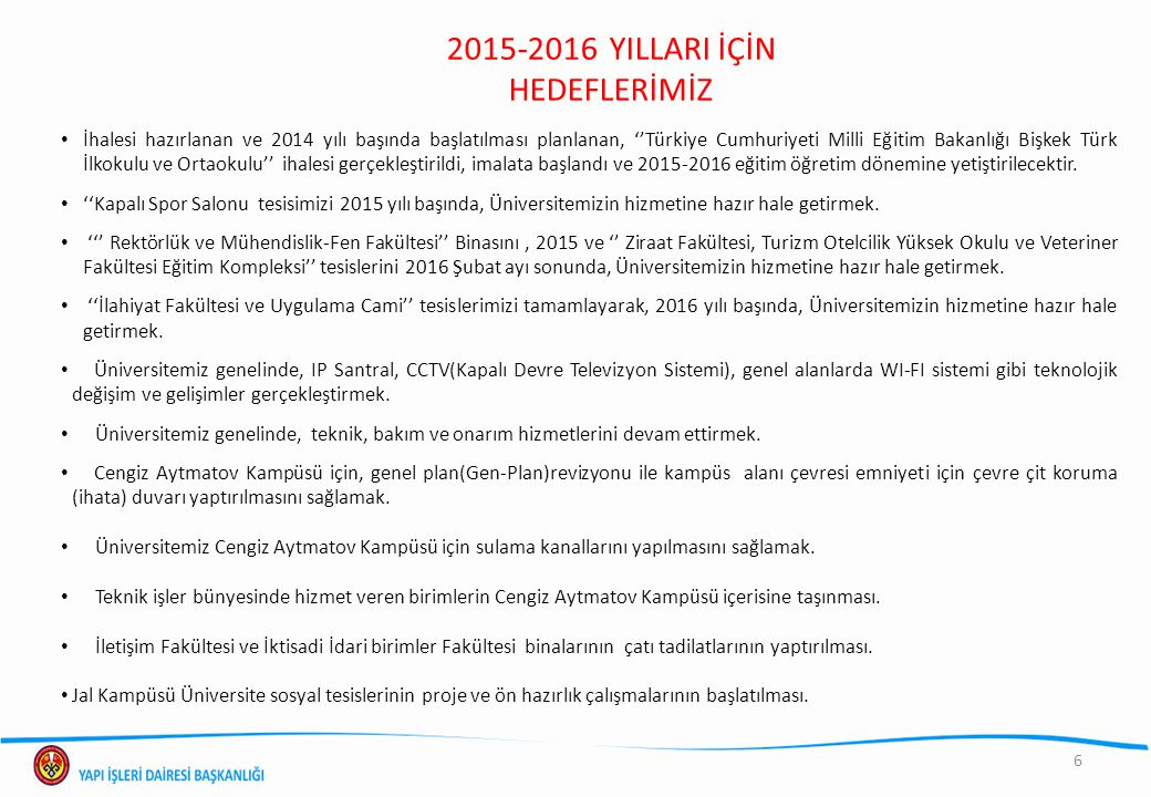 2015-2016 YILLARI İÇİN HEDEFLERİMİZ