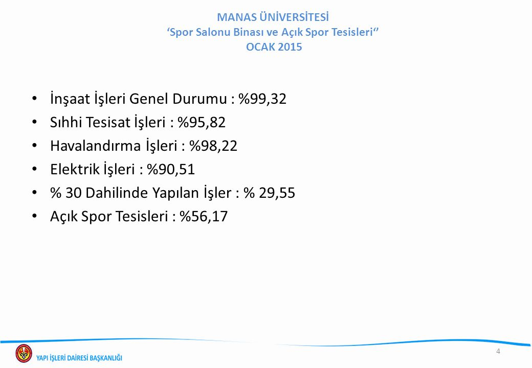 İnşaat İşleri Genel Durumu : %99,32 Sıhhi Tesisat İşleri : %95,82