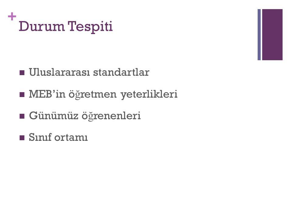 Durum Tespiti Uluslararası standartlar MEB'in öğretmen yeterlikleri