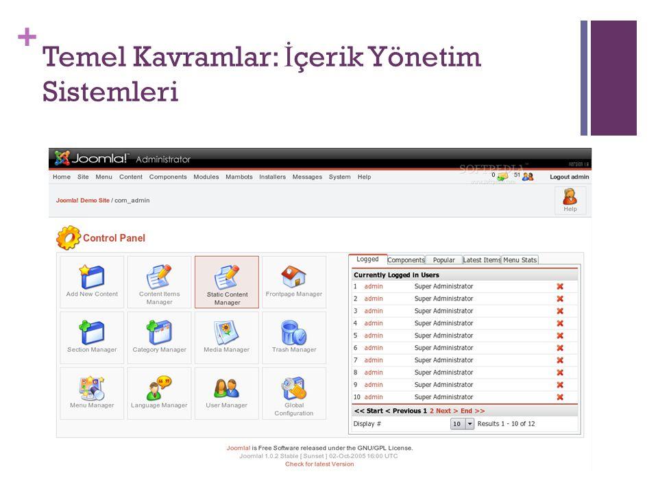 Temel Kavramlar: İçerik Yönetim Sistemleri