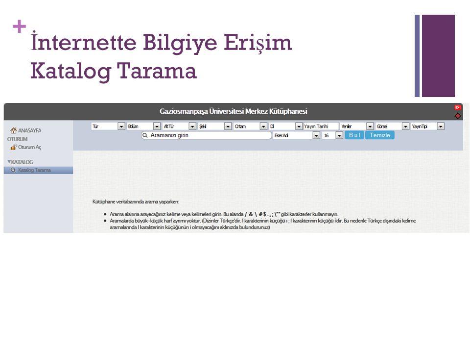 İnternette Bilgiye Erişim Katalog Tarama