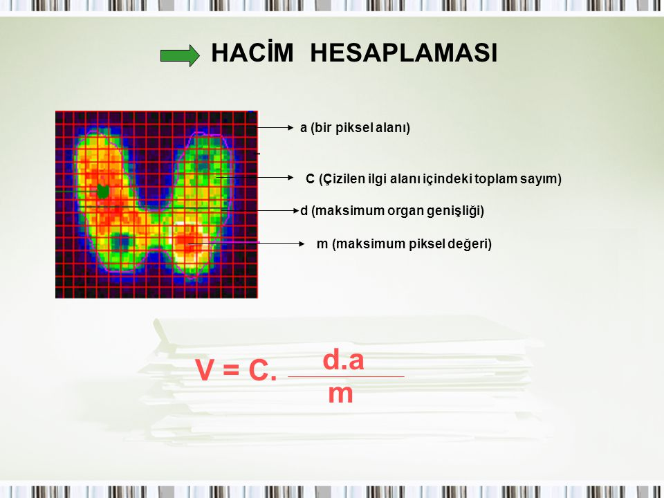 d.a V = C. m HACİM HESAPLAMASI a (bir piksel alanı)