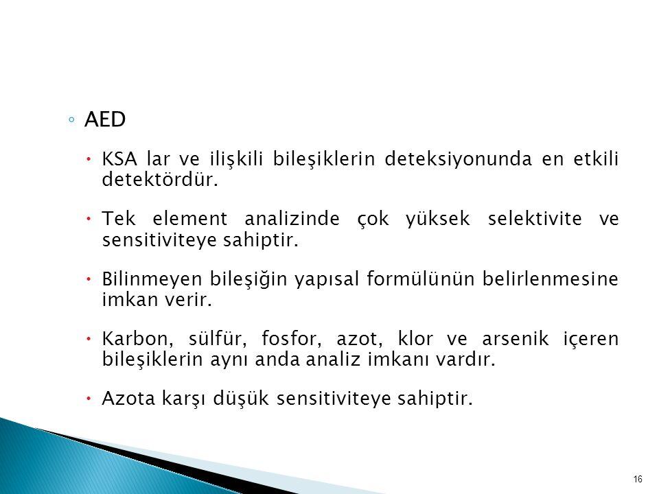 AED KSA lar ve ilişkili bileşiklerin deteksiyonunda en etkili detektördür.