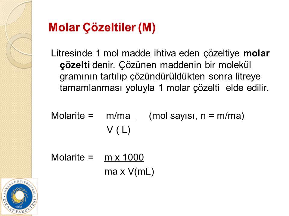 Molar Çözeltiler (M)