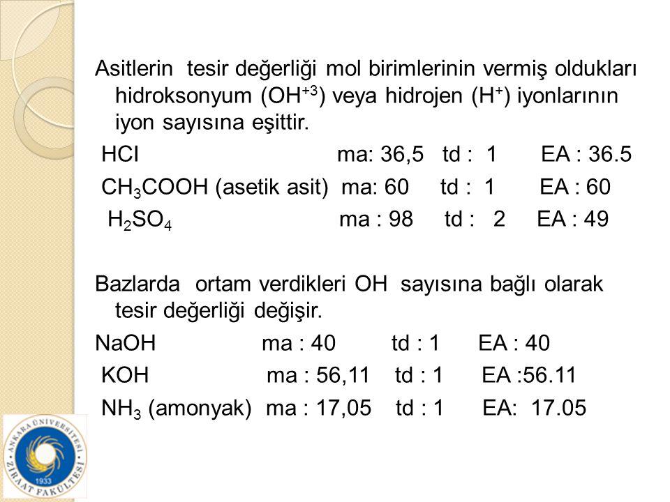 Asitlerin tesir değerliği mol birimlerinin vermiş oldukları hidroksonyum (OH+3) veya hidrojen (H+) iyonlarının iyon sayısına eşittir.