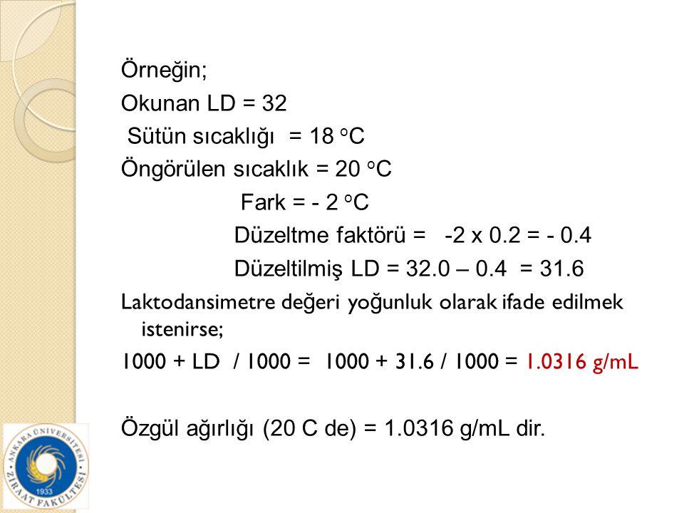 Örneğin; Okunan LD = 32 Sütün sıcaklığı = 18 oC Öngörülen sıcaklık = 20 oC Fark = - 2 oC Düzeltme faktörü = -2 x 0.2 = - 0.4 Düzeltilmiş LD = 32.0 – 0.4 = 31.6 Laktodansimetre değeri yoğunluk olarak ifade edilmek istenirse; 1000 + LD / 1000 = 1000 + 31.6 / 1000 = 1.0316 g/mL Özgül ağırlığı (20 C de) = 1.0316 g/mL dir.