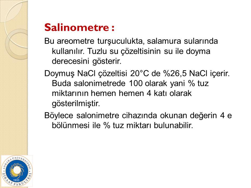 Salinometre : Bu areometre turşuculukta, salamura sularında kullanılır. Tuzlu su çözeltisinin su ile doyma derecesini gösterir.