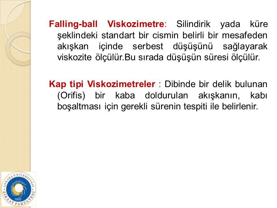 Falling-ball Viskozimetre: Silindirik yada küre şeklindeki standart bir cismin belirli bir mesafeden akışkan içinde serbest düşüşünü sağlayarak viskozite ölçülür.Bu sırada düşüşün süresi ölçülür.
