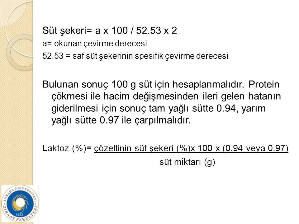 Süt şekeri= a x 100 / 52.53 x 2 a= okunan çevirme derecesi. 52.53 = saf süt şekerinin spesifik çevirme derecesi.