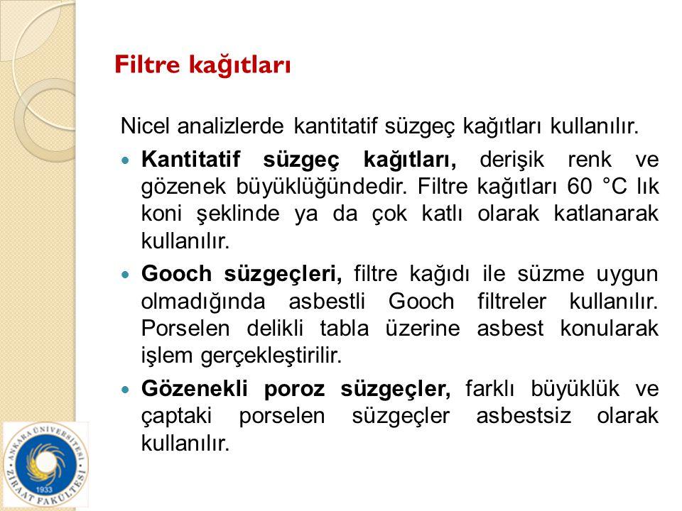 Filtre kağıtları Nicel analizlerde kantitatif süzgeç kağıtları kullanılır.