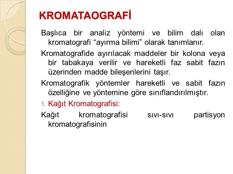 KROMATAOGRAFİ Başlıca bir analiz yöntemi ve bilim dalı olan kromatografi ayırma bilimi olarak tanımlanır.